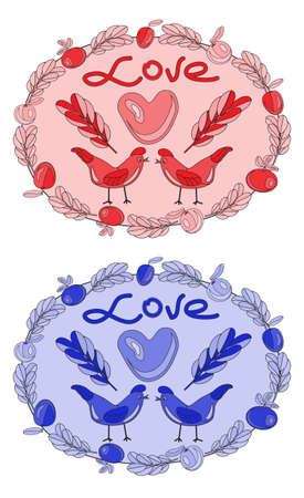 Personalized Candy Sticker Labels - perfect addition to wedding or party favors. Romance. Birds. Valentines Day. vector drawing