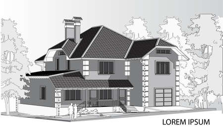 slate roof: Vector drawing of a house in the future. The house with a slate roof. Drawing of a house. Architecture. Exterior. House. black and white vector illustration of a house. Advertise property. Banner