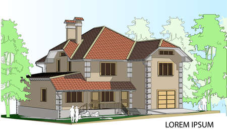 slate roof: Vector drawing of a house in the future. The house with a slate roof. Drawing of a house. Private house. Architecture. Exterior. House.  Advertise property. Banner Illustration