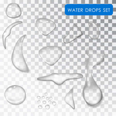 rain drop: Transparent drop of water. Drip water. Rain. Droplets of dew on a transparent background isolated Illustration
