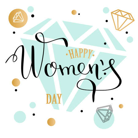 Womans day lettering greeting card with geometric form diamond. low poly style jewel shape in golden glitter background. Calligraphy lettering. Vector illustration EPS 10.