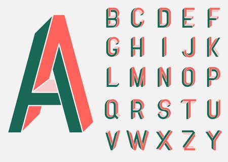 불가능한 도형 글꼴. 멤피스 스타일의 편지. 80 년대 스타일의 컬러 글자. 아이소 메트릭 뷰를 기준으로 생성 된 벡터 문자 집합입니다. 낮은 폴 리 3D 문 일러스트