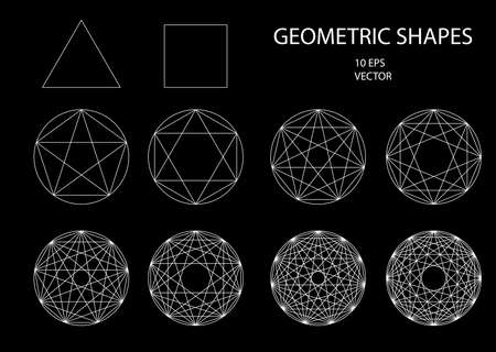inscribed: Sacred Geometry. Drawing. Types of crossings. Geometry. Cryptogram. Trendy hipster icons and logotypes. lines crossing the polygon inscribed in a circle. Vector 10 eps.