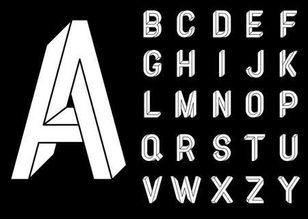 不可能な幾何学文字。不可能図形フォント。低ポリ 3 d キャラクター。幾何学的なフォントです。等角投影図 3 d abc。黒の背景に白い文字。ベクトル  イラスト・ベクター素材