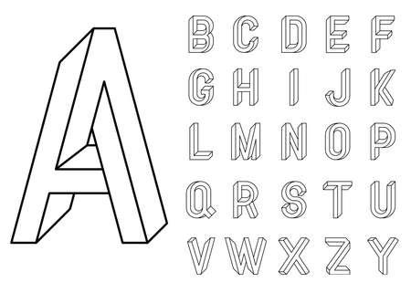 不可能な幾何学文字。等角投影ビューに基づいて組み立てられるベクトル文字のエ。不可能な形状、目の錯覚。神聖な幾何学。ベクトル図 10 eps  イラスト・ベクター素材