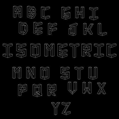 Isometric letters. Set of vector letters constructed on the basis of the isometric view. Low poly 3d characters. Geometric font. Vector illustration 10 eps.