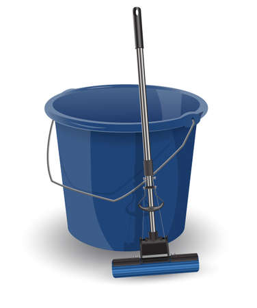 Cubo azul con una fregona.