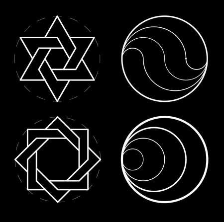 Set of geometric shapes. Sacred geometry, golden ratio. Construction of figure. Illustration