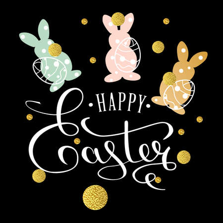 Happy Easter lettering greeting card with doodle easter eggs and bunny on black background. Calligraphy lettering. Calligraphic pen inscription. Vector illustration EPS 10.