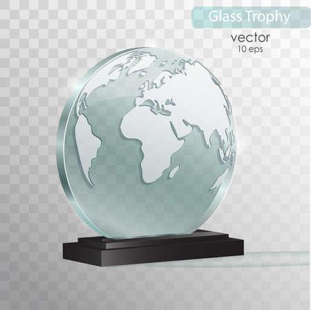 世界のガラス製表彰盾。ガラス トロフィー賞を受賞。ベクター グラフィックは、透明な背景に分離されました。現実的な 3 D デザイン。現実的なベクトル透明オブジェクト 10 eps。