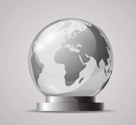 Glass globe on a stand. Souvenir, crystal model of the globe. Realistic vector objects. A glass sphere isolated on a gray background.