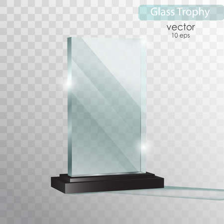 ガラス板。ガラス トロフィー賞を受賞。ベクター グラフィックは、透明な背景に分離されました。現実的な 3 D デザイン。現実的なベクトル透明オ
