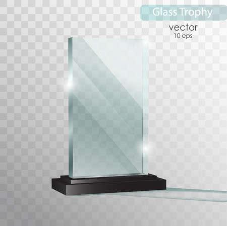 Glasteller. Glas Trophäe Auszeichnung. Vektorillustration lokalisiert auf transparentem Hintergrund. Realistisches 3D-Design. Transparenter Gegenstand 10 ENV des realistischen Vektors.