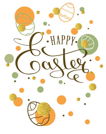 golden egg: Happy Easter lettering greeting card