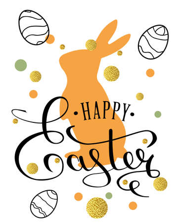 ag: Happy Easter lettering greeting card with doodle easter eggs and bunny . Calligraphy lettering. Calligraphic pen inscription. Vector illustration EPS 10.