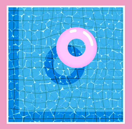 Surface of the water with a pink inflatable circle. Modern style trends 80. surreal hipster images. Template for banner, party. Vector illustration. Иллюстрация