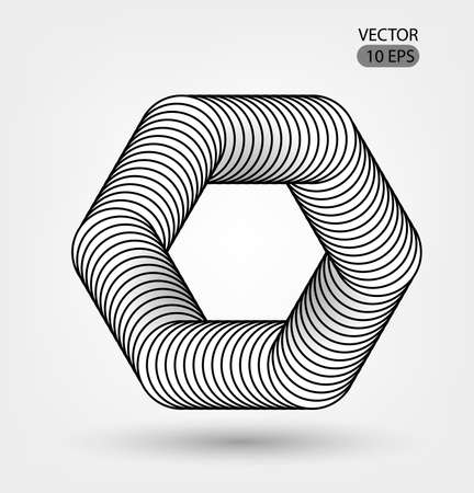 Hexagon of impossible shape. Optical illusion illustration, abstract futuristic background. . Black and white. Black and white lines. Futuristic design. Vector 10 EPS.