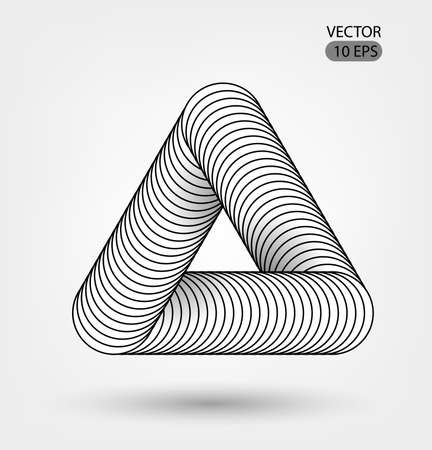 Impossible shape triangle . Optical illusion illustration, abstract futuristic background. . Black and white. Black and white lines. Futuristic design. Vector 10 EPS. Illustration