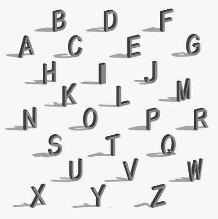 Isometrische letters met vallende schaduw. Letters in de ruimte met een schaduw. 3D-lettertype voor kop, poster, inscriptie. Set letters opgebouwd op basis van de isometrische weergave. Vector illustratie. Stock Illustratie