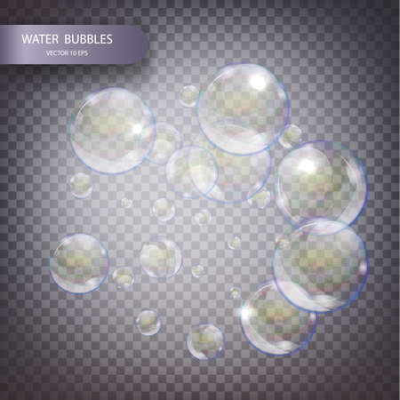vesicles: Water bubbles isolated on a transparent checkered background. Fizzy trace falling down in water on transparent background.