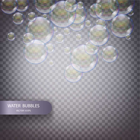 vesicles: Water bubbles isolated on a transparent checkered background. Iridescent soap bubbles with reflex and reflection, realistic vector effect