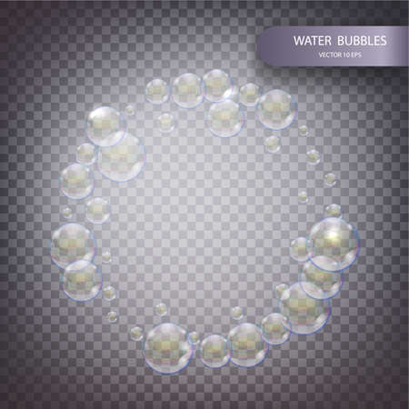 vesicles: Water bubbles isolated on a transparent checkered background. Iridescent soap bubbles with reflex and reflection, realistic vector effect. Round frame of rainbow bubbles. Vector 10 eps.