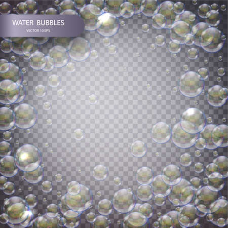 Water bubbles isolated on a transparent checkered background. Underwater effervescent sparkling oxygen bubbles in water. Iridescent soap bubbles with reflex and reflection, realistic vector effect.