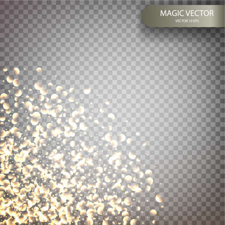 Magic vector luminous background. Shine particles isolated on transparent background. Dust cloud with glow light. Luxury decoration for design. Vector illustration EPS10