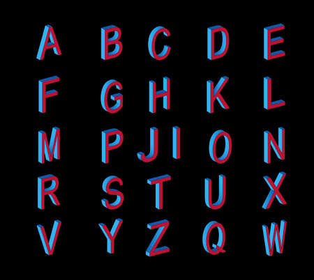 the nineties: Isometric letters. Colored isometric 3d font. Isometric font in 90s style.