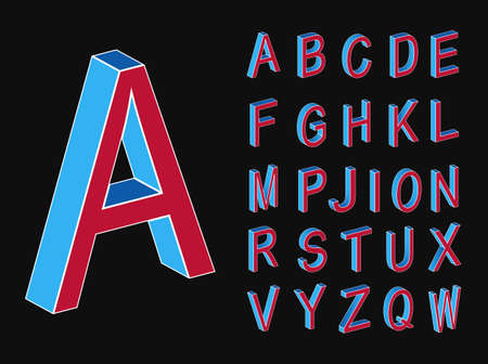Isometric letters. Memphis style letters. Colored isometric 3d font. Style of the 80s.