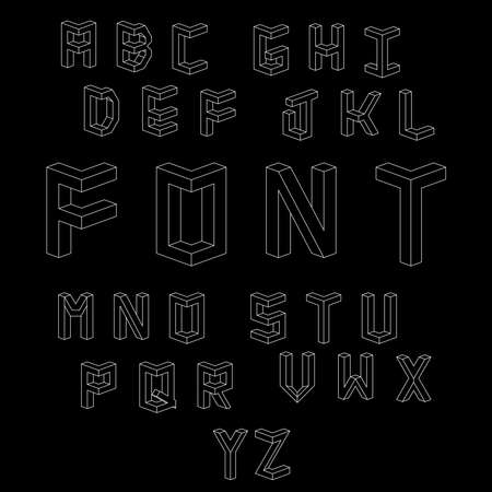 Memphis style letters. Set of vector letters constructed on the basis of the isometric view. Illustration