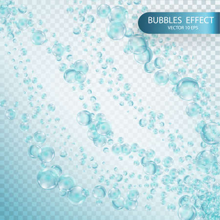 Water bubbles isolated on a transparent checkered background. Underwater effervescent sparkling oxygen bubbles in water. Streams with air bubbles. Vector realistic effect template
