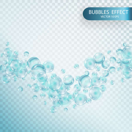 vesicles: Fizzy sparkles in aquarium, champagne, soda drink. Soap bubbles with reflex and reflection, realistic vector effect