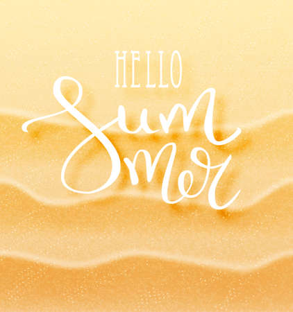 Hello summer calligraphic inscription with a thin feather. Lettering on the background of a sandy exotic beach. The concept of a beach holiday. Tropical vector background