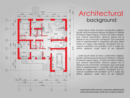 disposition: Background for an architectural element. Banner. Advertising element. The red lines in the drawing. Space for labels and titles. Architectural drawing. Disposition of the apartment house