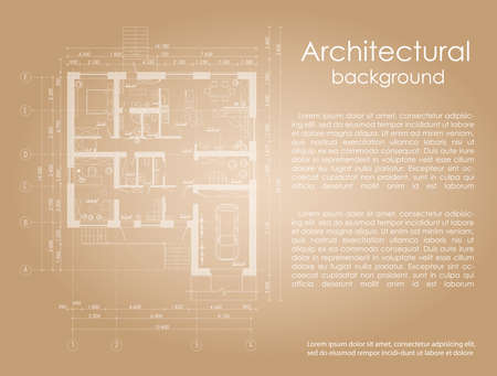 disposition: Architectural background with the effect of the age of the drawing. drawing white lines. House plan. Brochure. Banner with space for writing Architectural drawing. Disposition of the apartment house