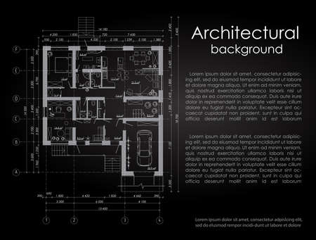 disposition: Architectural vector background. White drawing on a black background. Brochure. Drawing of a house. Disposition of the house. Banner with space for writing in the architectural style Illustration