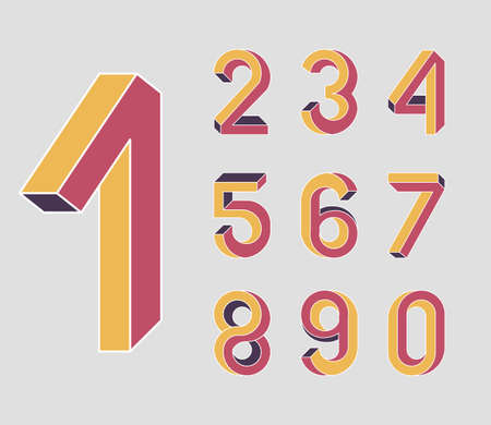 First. Impossible shape numbers. Memphis style . Colored numbers in the style of the 80s. Set of vector numbers constructed on the basis of the isometric view. Low poly 3d characters. Illustration