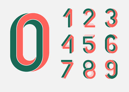 size: Impossible shape numbers. Memphis style . Colored numbers in the style of the 80s. Set of vector numbers constructed on the basis of the isometric view. Low poly 3d characters. Vector