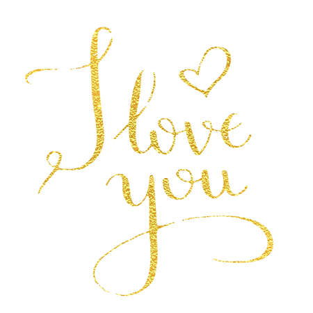 I love you, hand-drawn calligraphy text for Valentines Day cards. Golden calligraphic vector font on a pink background. Declaration of love. Print EPS 10 Vector. Illustration