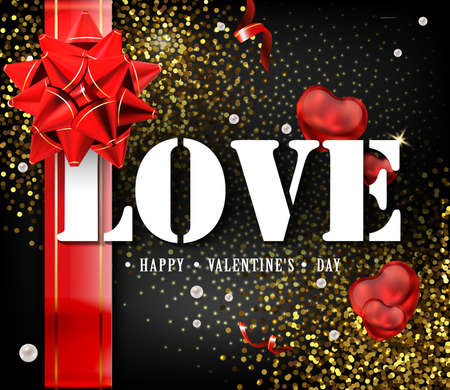 Happy Valentines Day card or flyer poster template or design invitations. A sign expressing love. Beautiful luxury holiday background with 3D gold gift bow. Vector