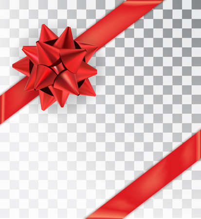 Ribbon tied at the corners. Realistic bow red satin isolated on a transparent background.  Mock-up to create gift cards and packages. Place for an inscription. Vector illustration, EPS10 Vectores
