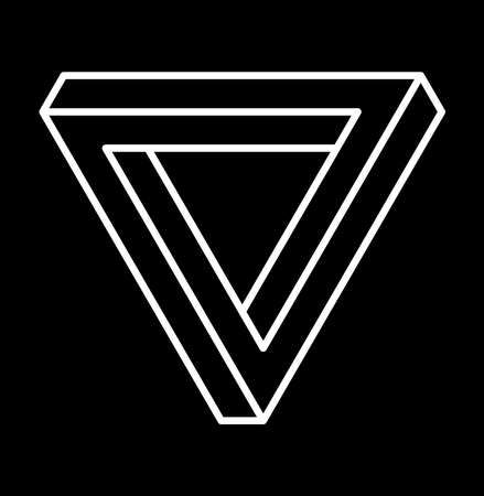 Impossible shape, optical illusion. Vector illustration of abstract  symbol Penrose triangle. Sacred geometry sign made in stippling technique. Isolated symbol. Pointillism. Penrose tribar.