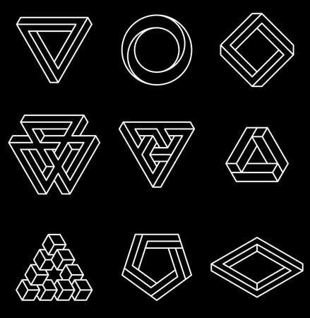 Set of impossible shapes. Optical Illusion. Vector Illustration isolated on white. Sacred geometry. White lines on a black background. Ilustração