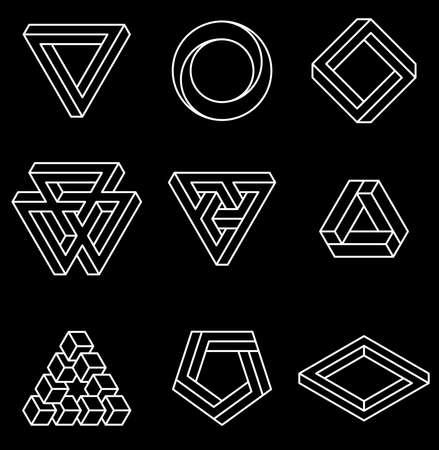 Set onmogelijke vormen. Optische illusie. Vectorillustratie geïsoleerd op wit. Heilige geometrie. Witte lijnen op een zwarte achtergrond.