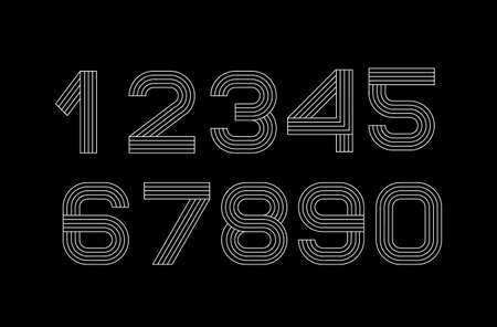 Vector linear font. Numbers are black and white lines. Simple and minimalist alphabet in mono line style