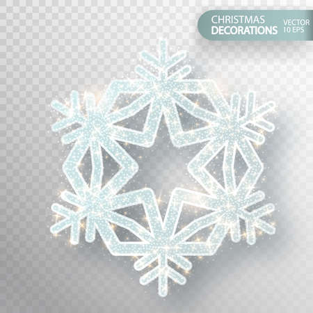 Christmas decoration. Glass snowflake on a transparent background. Isolated Big snowflake. Silvery flicker of particles and magic flicker. The effect of frozen snow. Vector illustration 10 EPS Ilustração