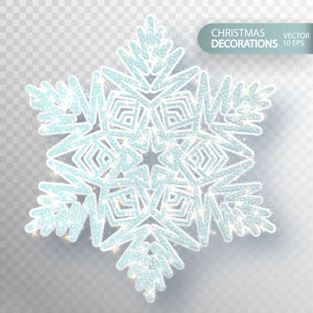 Christmas decoration. Glass snowflake on a transparent background. Isolated Big snowflake. Silvery flicker of particles and magic flicker. The effect of frozen snow. Vector illustration 10 EPS Иллюстрация