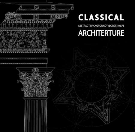 academia: Classical architecture. Background with a place for an inscription. Corinthian Capital. Elements of classical architecture. Architectural drawings of ancient Greece. Vector Illustration