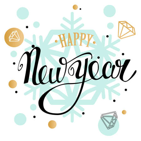 Happy New Year handwriting lettering greeting card with geometric form, snowflake, diamond. low poly style jewel shape in golden glitter background. Calligraphy lettering. Vector illustration EPS 10.